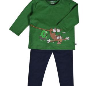 202-3-PLU-S/735 woody pyjama baby geit groen jongens